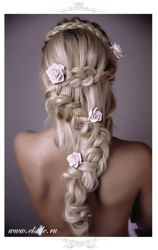 Braid Wedding Hairstyle With Roses Amazing Wedding Hairstyles For Long Hair Wedding Hairstyles For Long Hair Hair Styles Braided Hairstyles For Wedding