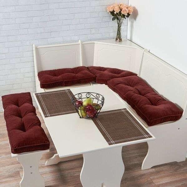 Details About Burgundy Wine 4 Pc Nook Cushion Set Corner