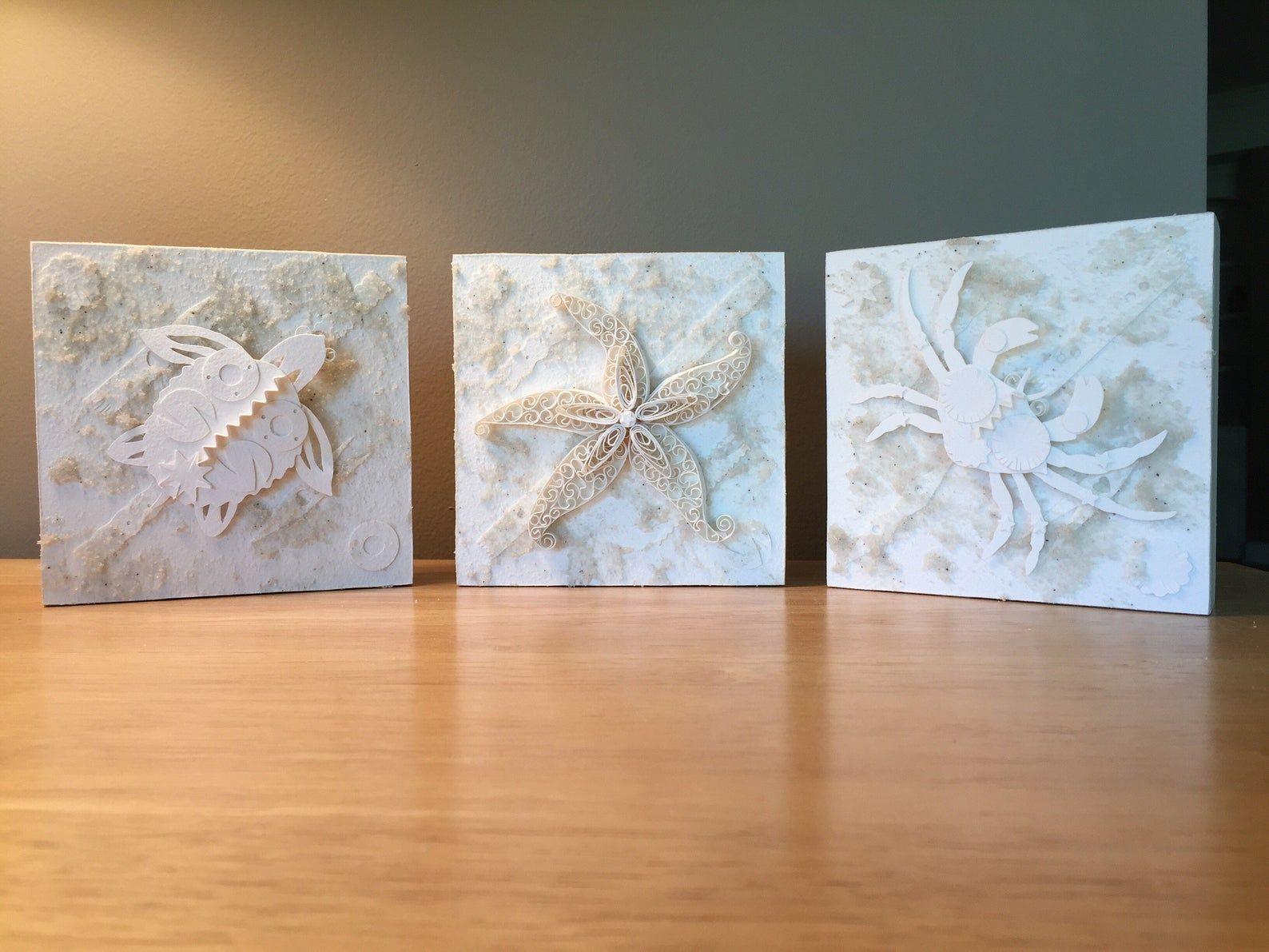 1st anniversary paper art coastal decor beach art FREE SHIPPING Starfish art 5x5
