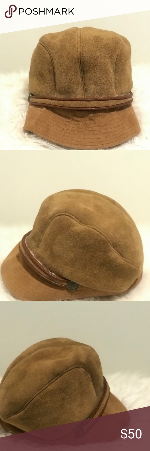 Ugg News Boy Style unisex Hat Ugg news boy unisex hat genuine shearling  sheepskin suede with leather trim- has snaps on back - ugg button on the  each side ... 3fc33328c405