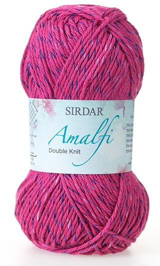 Inspired by the gorgeous Amalfi coast in Italy and has a beautiful cotton blend making it wonderfully soft. Amalfi DK comes in a palette of shades, each with a colourful nep running through them. It is a machine washable, standard double knitting yarn and will knit to all Sirdar double knitting patterns. 75% Cotton 25% Viscose | English Yarns