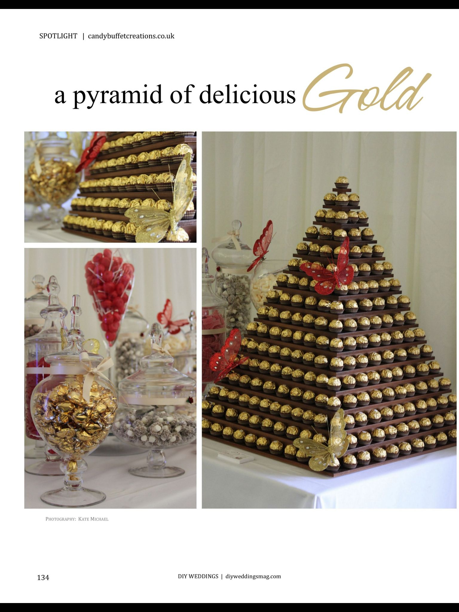 Egyptian Christmas Decorations - Gold chocolate pyramid i would do this with chocolates styrofoam and toothpicks