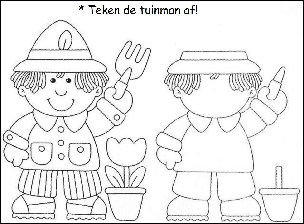 Teken De Tuinman Af Werkbladen Oefeningen