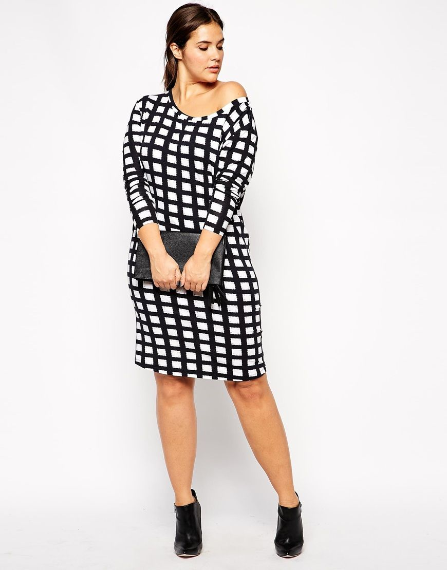c5c158ac8d2 Image 4 of ASOS CURVE Exclusive Off Shoulder T-Shirt Dress in Check Print