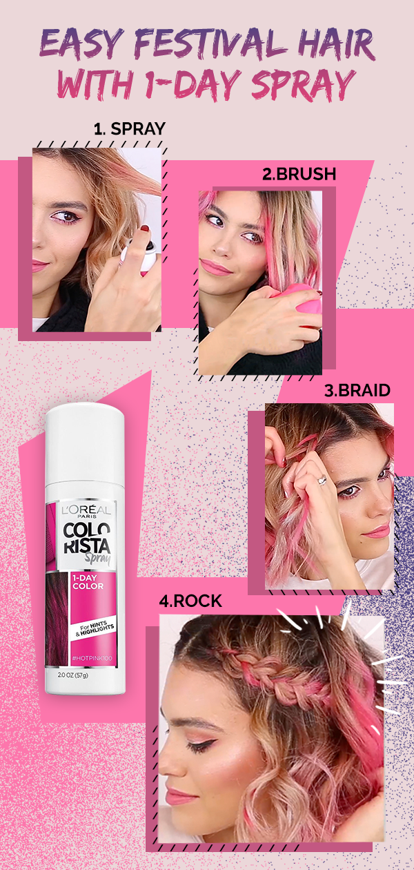 Make This Look Your Own With Colorista 1 Day Spray Hot Pink Not Your Color Go With One Of The Many Other Oval Face Hairstyles Medium Hair Styles Hair Styles
