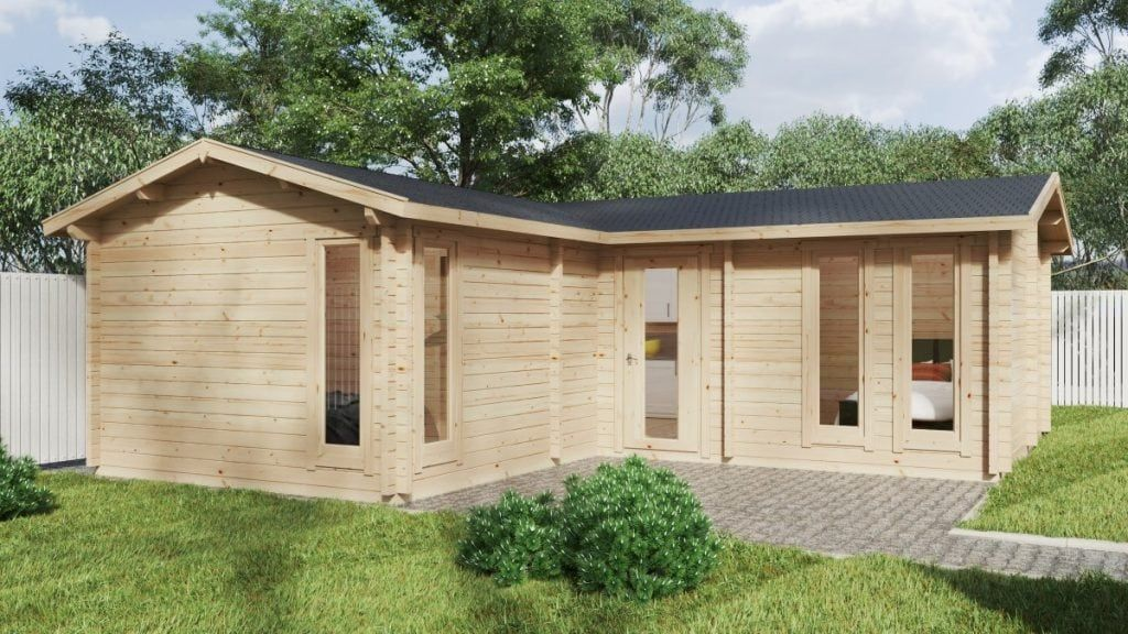 Corner Log Cabin With Two Bedrooms Devon 2 40m2 70mm In 2020 Corner Log Cabins Log Cabin Garden Log Cabins