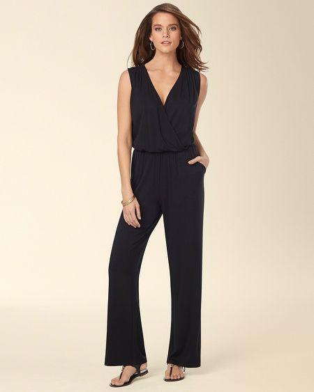 930aa2b3a31 Soma Intimates Cover Up Surplice Sleeveless Jumpsuit Black  somaintimates