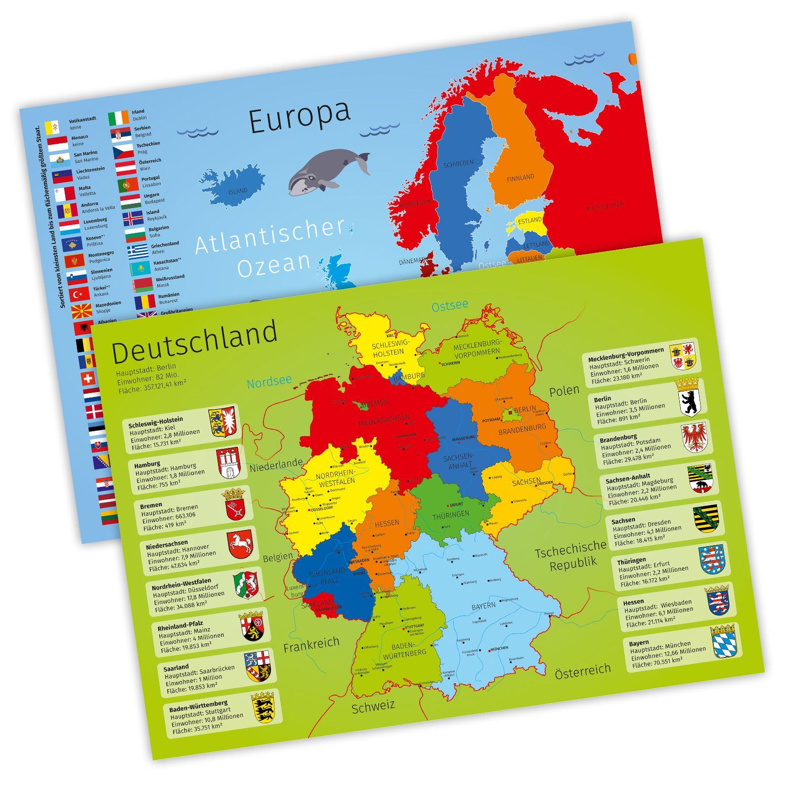 A3 Tischset Platzset Mit Deutschland Und Europakarte Deutschland Karte Bundeslander Tischset Karten