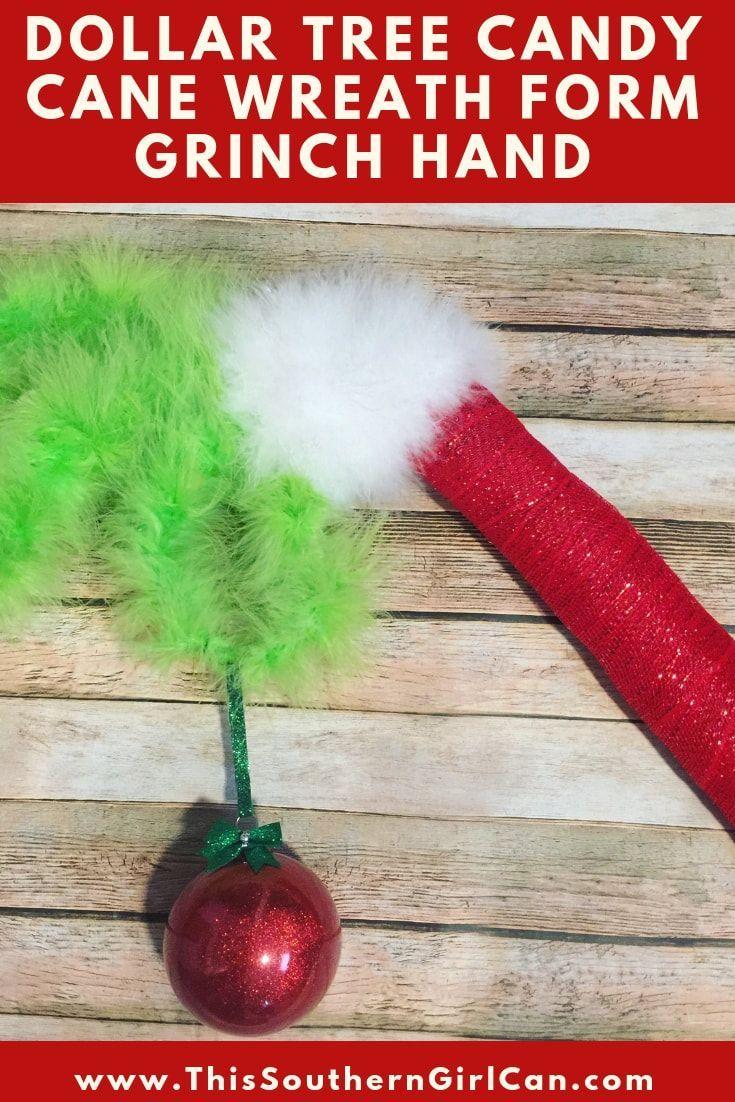 Dollar Tree Candy Cane Wreath Form Grinch Hand #candycanewreath Make this awesome Grinch decoration with a candy cane wreath form from Dollar Tree! #candycanewreath