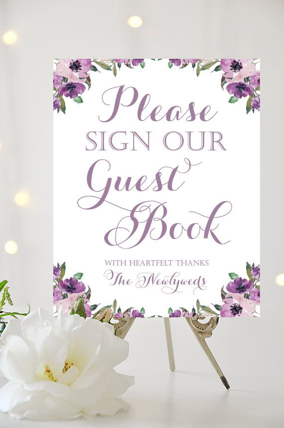 Silver /& Cadbury Purple Informal No Seating Plan Wedding Sign Print