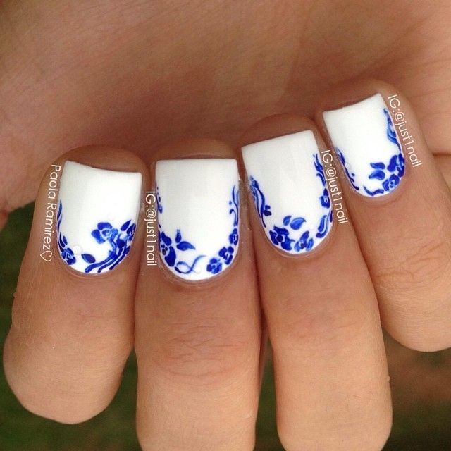 45 Floral Nail Tutorials To Try Out This Summer. Blue And White NailsNail  Art ... - 45 Floral Nail Tutorials To Try Out This Summer Nail Art To Try