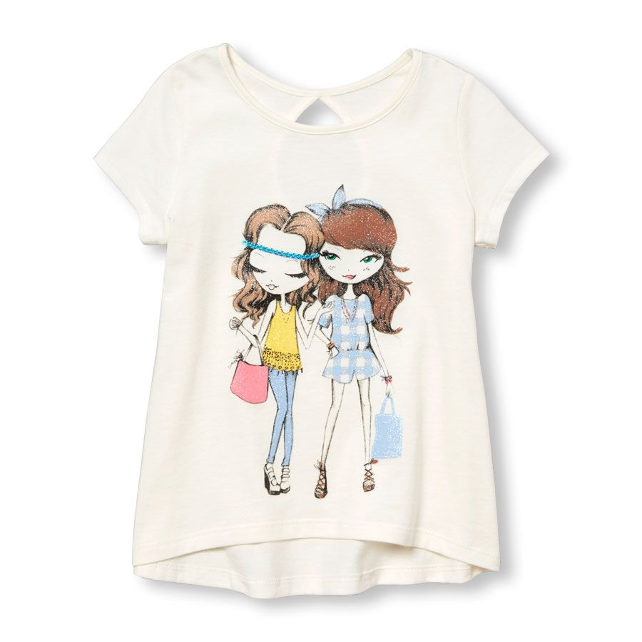 c663c3847731 Toddler Girls Short Sleeve Embellished Graphic Keyhole-Back Top ...