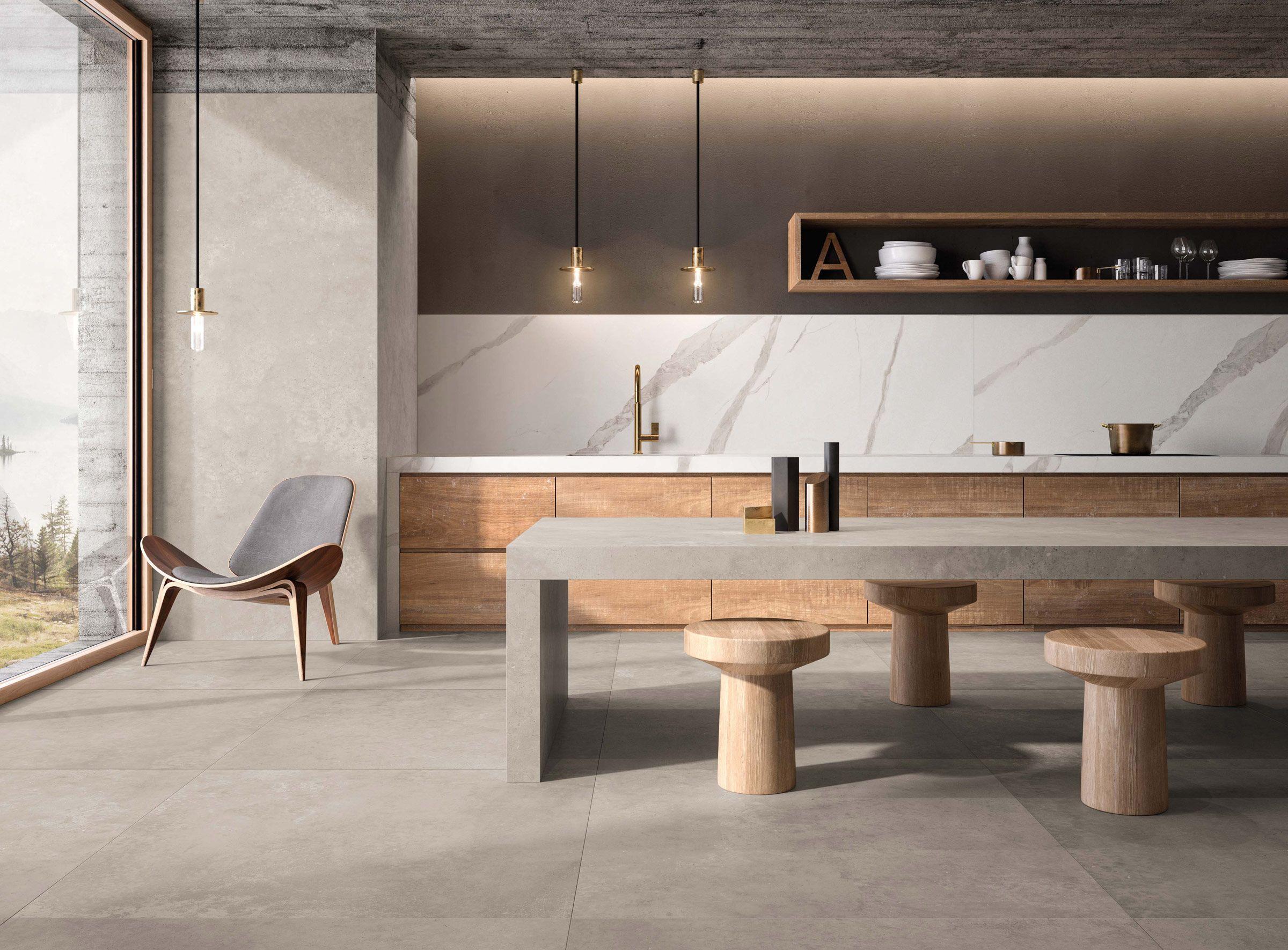 Warmes Und Elegantes Design In 2020 Kuche Loft Kuche Beton Innenarchitektur Kuche