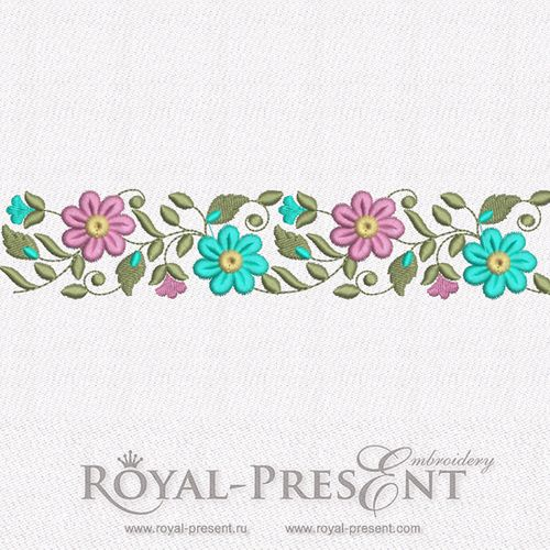 Free Machine Embroidery Border Design 3 Floral Embroidery Designs