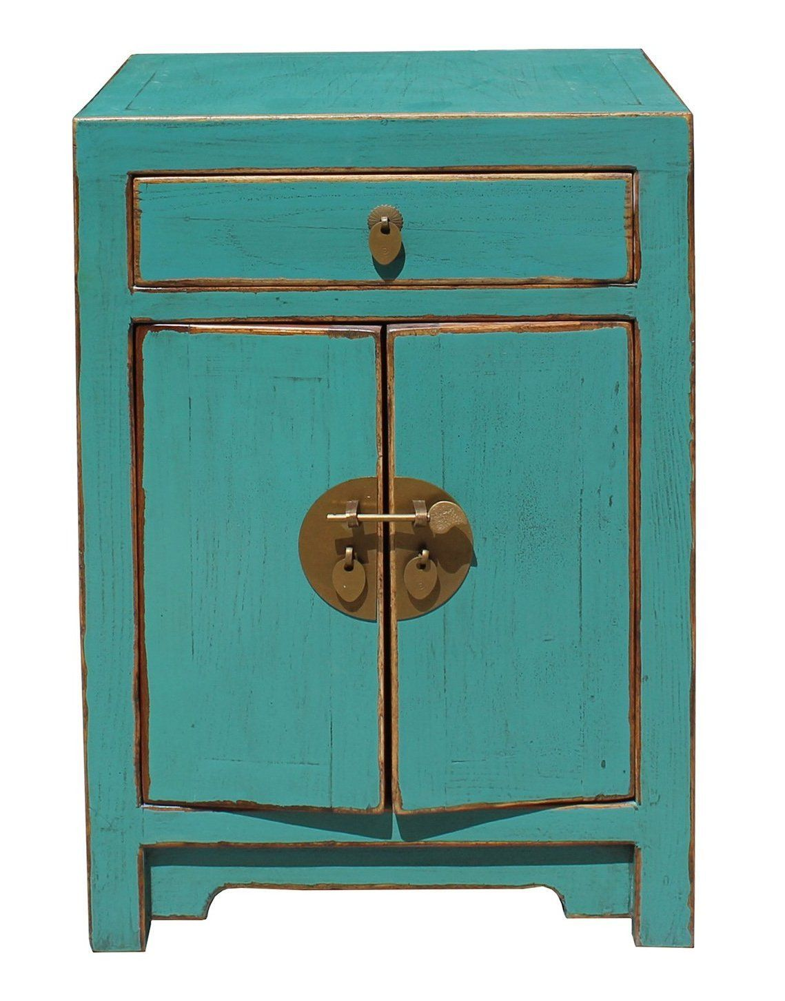 Oriental Distressed Light Teal Blue Lacquer Side End Table