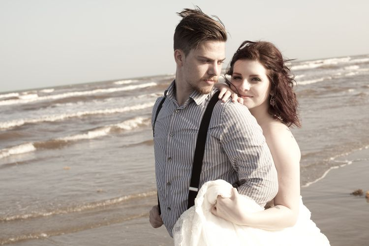 """Sunset """"Just Married"""" wedding session with bride and groom on Texas beach, photographed by Jessi Marri Photography 