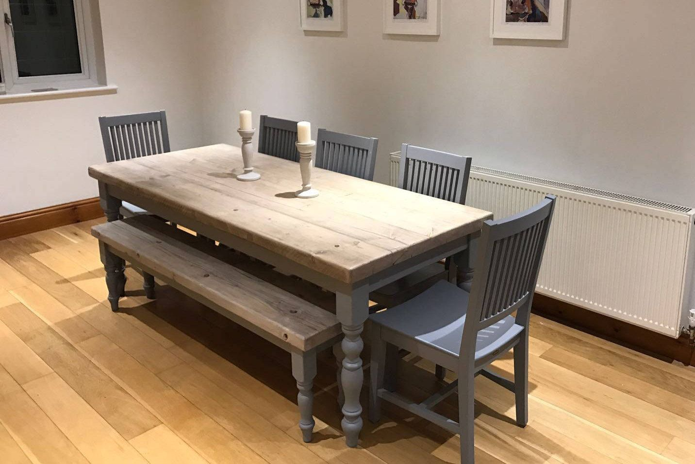 Farmhouse dining table with reclaimed wood top and