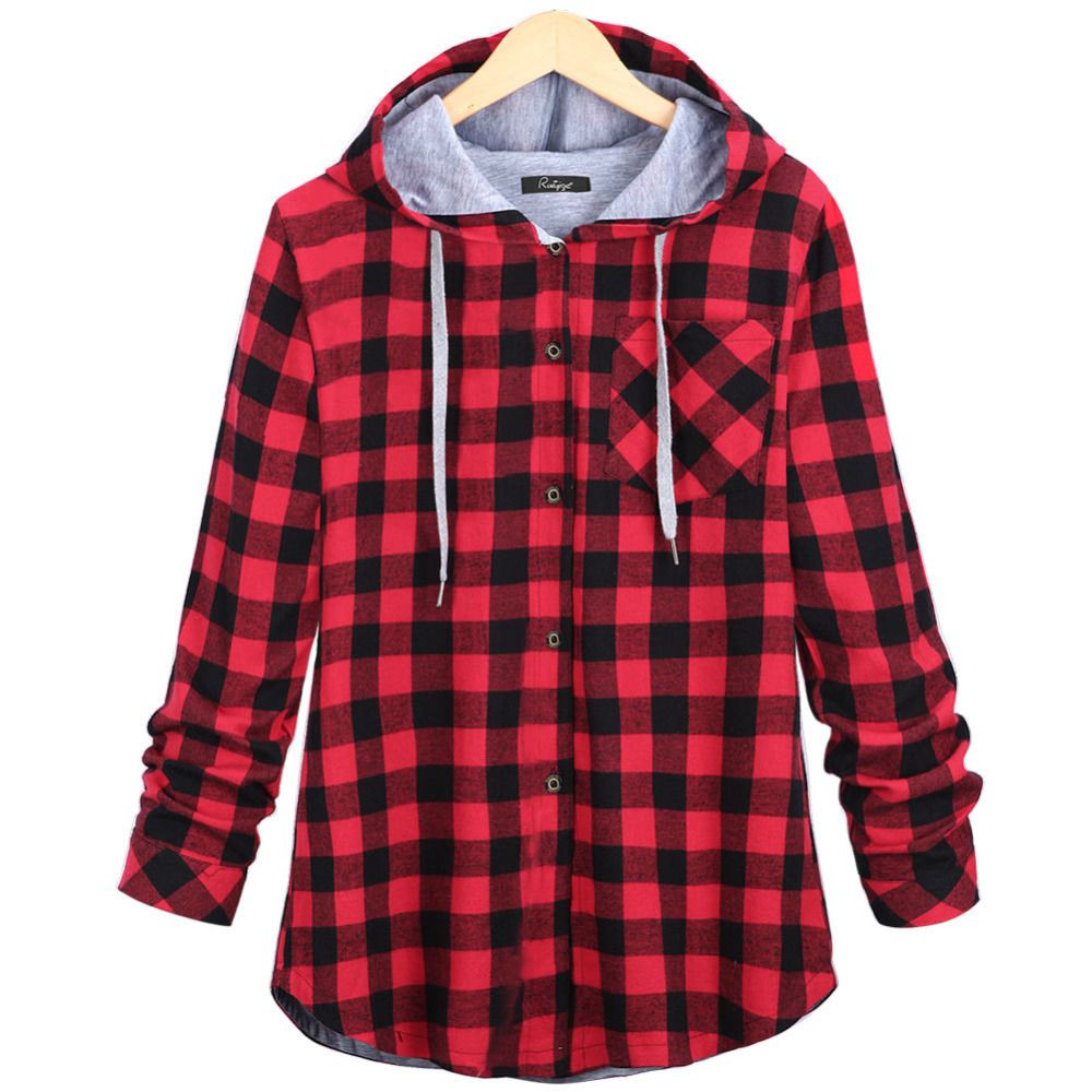 Aliexpress Com Buy Acemiriz Women Red Plaid Hooded Shirts Cotton Autumn Winter Long Sleeve Blosue Cas Plaid Hoodie Plaid Shirt Women Windbreaker Jacket Women [ 1000 x 1000 Pixel ]