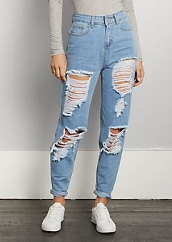 12c4b315416 Destroyed Light Blue High Rise Mom Jean | rue21 | My style in 2019 ...