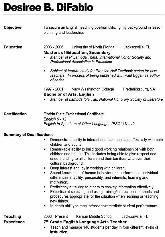 Great Sample Teacher Resume   Like The Bold Name With Line