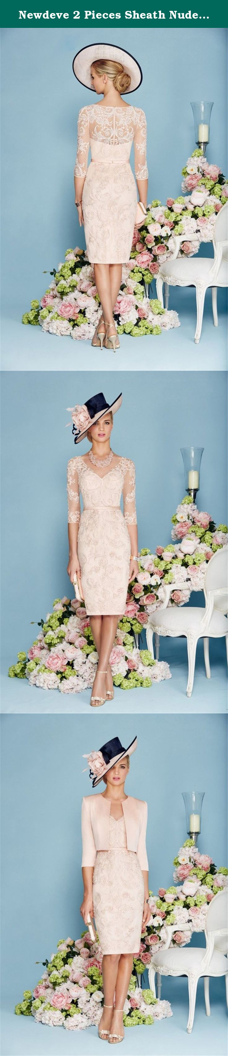 Newdeve pieces sheath nude pink lace mother dresses short our