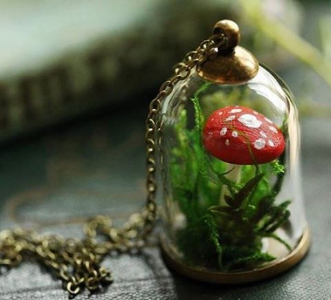 I have encapsulated a tiny speckled red Fly Agaric mushroom growing in a bed of real woodland moss under a miniature glass bell jar to make this fun and whimsical terrarium pendant. A perfect capsule garden for flower faeries and mushroom foragers alike!