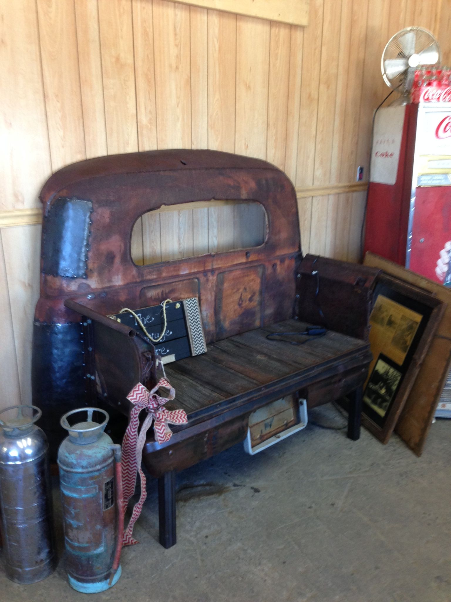 Truck bench bench made from an old truck for a great for Furniture made from cars