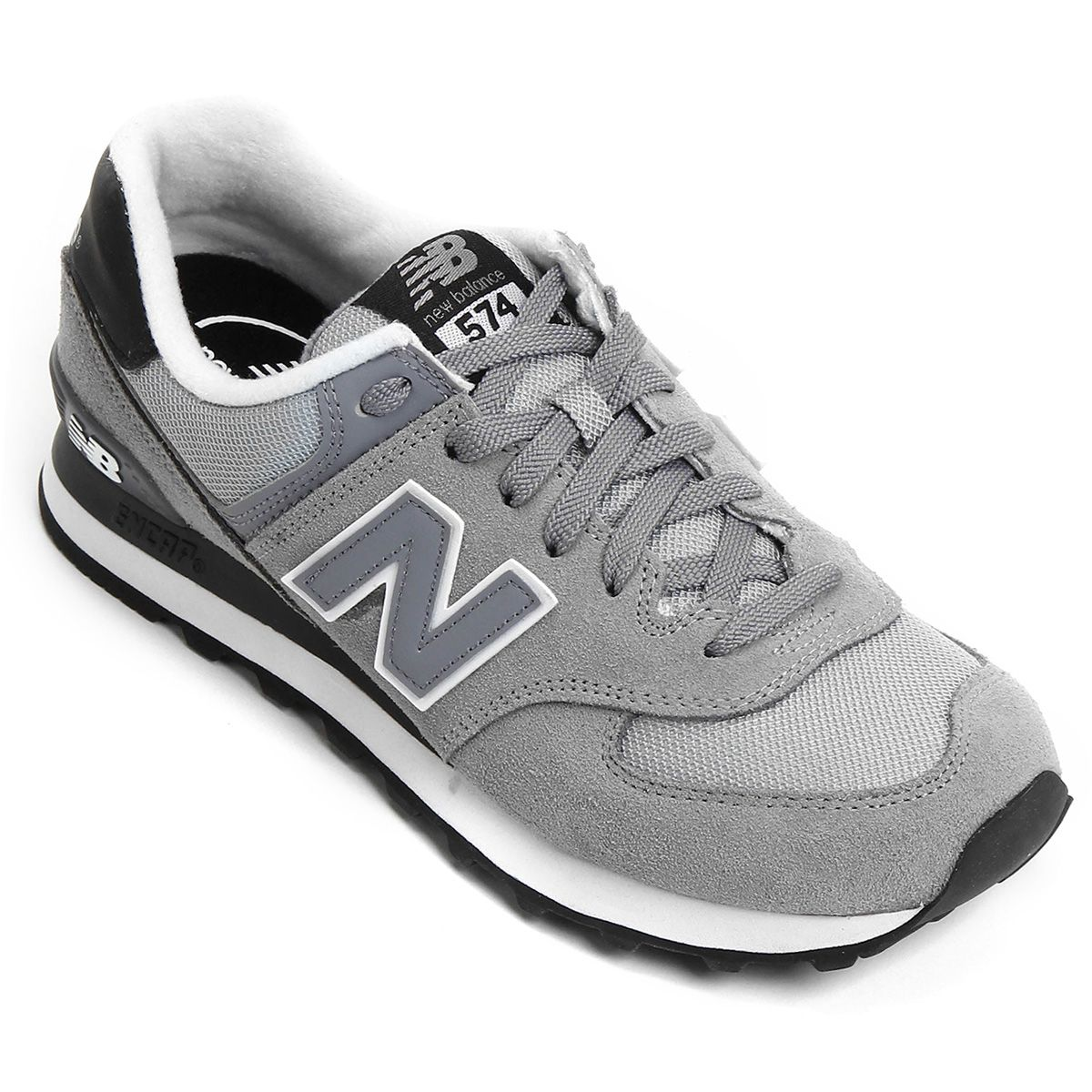 0506f133c8499 Tênis New Balance 574 Core Plus Cinza e Preto   Netshoes   Sneakers ...