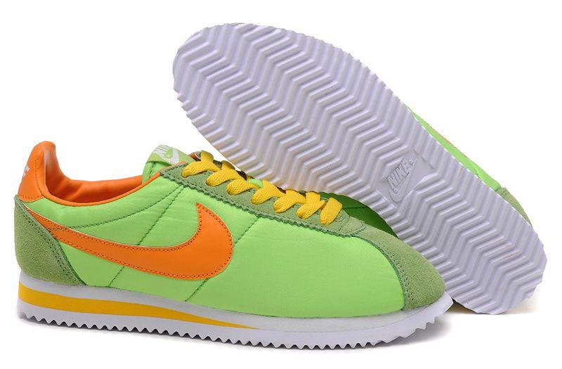 new concept ec140 0d4dc Nike Classic Cortez Nylon Lime Green Yellow Orange Womens