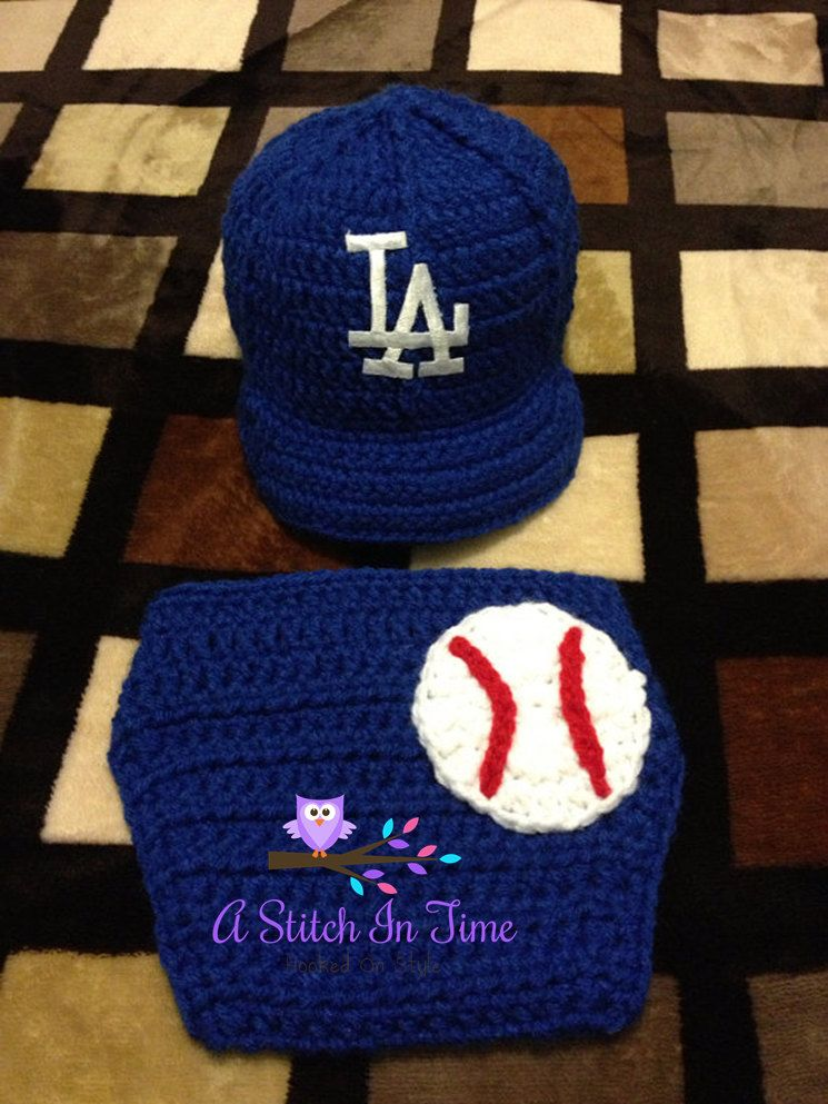 e1cd4e753 LA Dodgers Baseball Team Baby Crochet Hat Cap Gotta love the game ...
