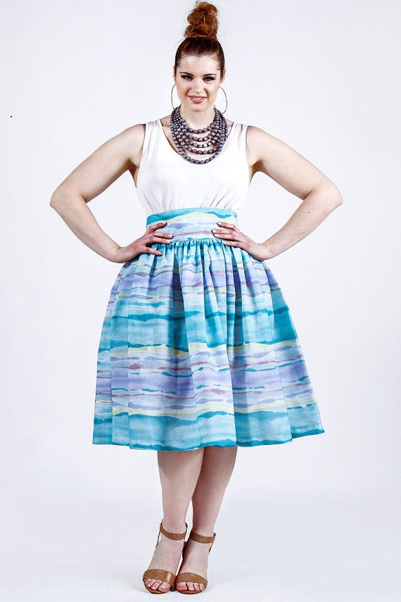 JIBRI Plus Size High Waist Flare Skirt (Sunset) - пышка | Pinterest