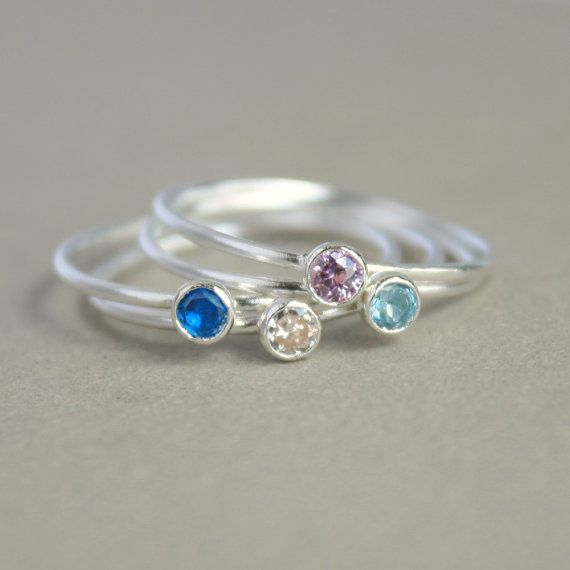 silver opal ring ONE delicate stackable birthstone ring Opal ring mothers ring engagement ring