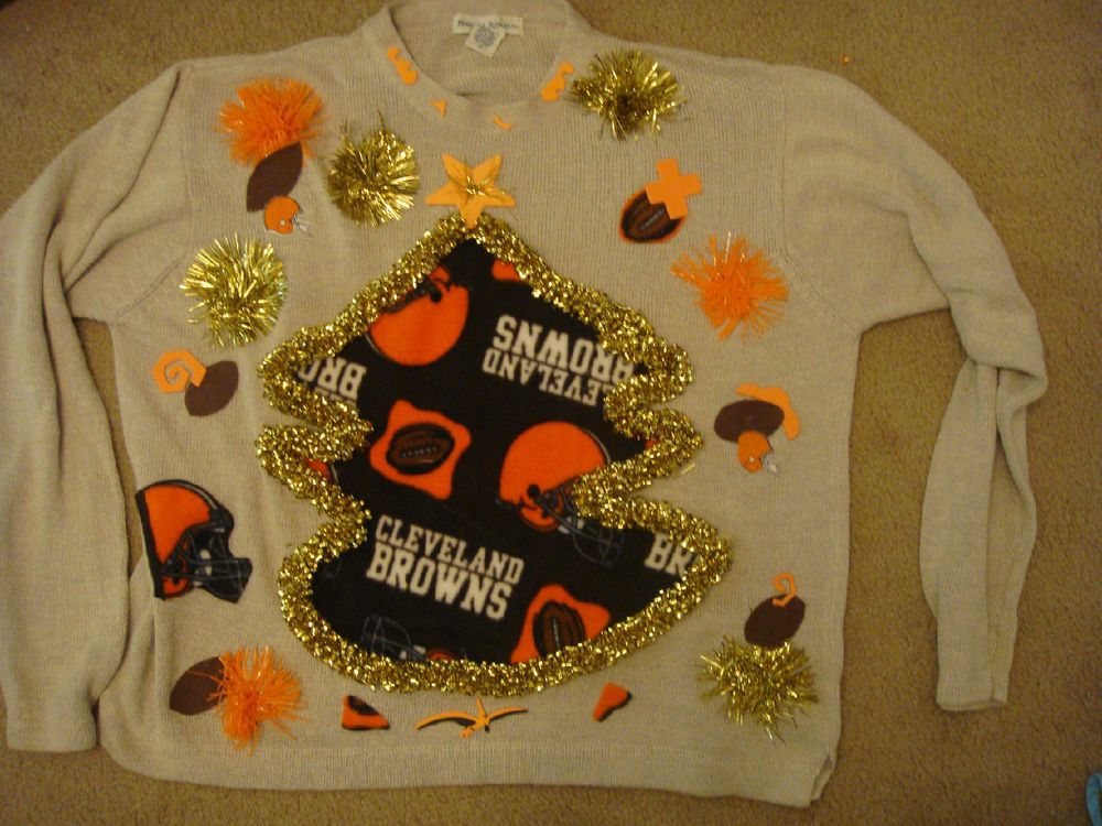sample pick team CLEVELAND BROWNS UGLY CHRISTMAS SWEATER M L S XL ...