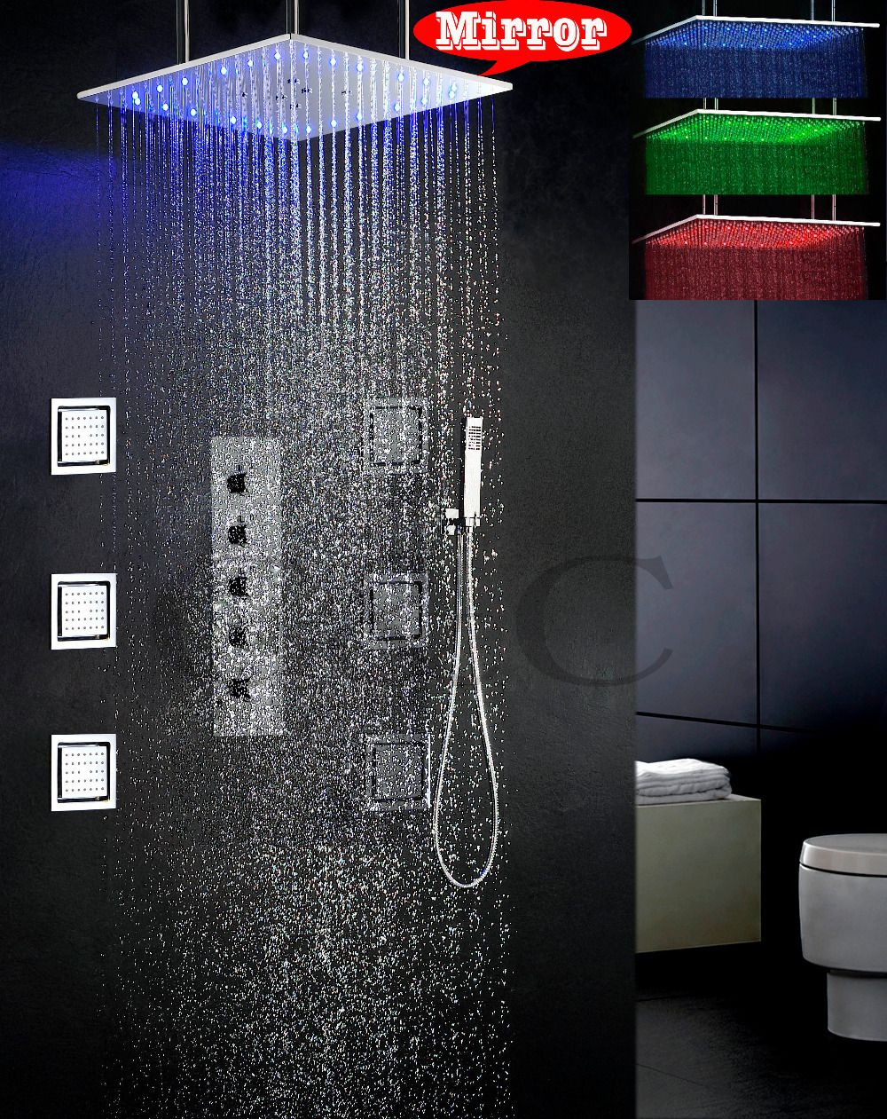 Douche A Jet Massage Swash And Rain Bathroom Set 20 Inch 3 Colors Led Temperature