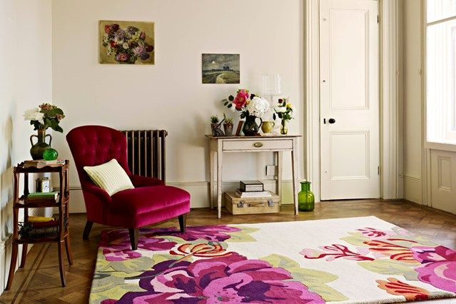 Floral Feature | Bright lights, Light colors and Living room furniture