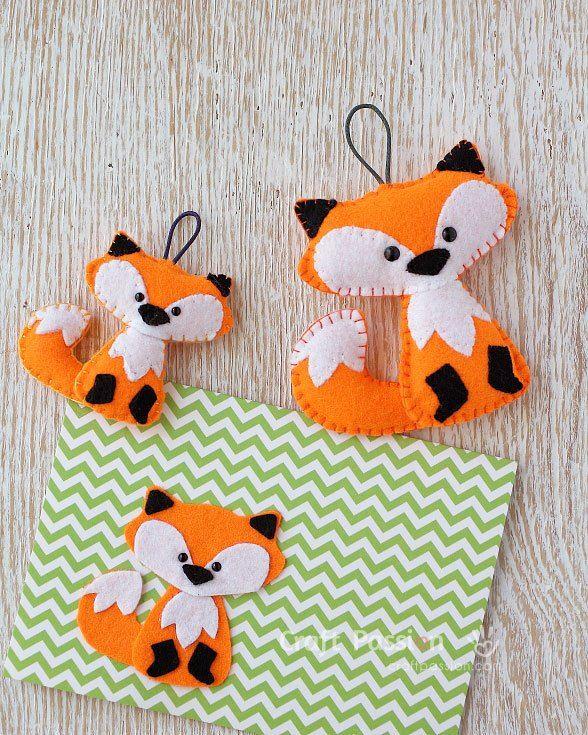 Felt Fox Ornament : ornament, Pattern:, Christmas, Ornament, Ornaments, Patterns,, Ornaments,
