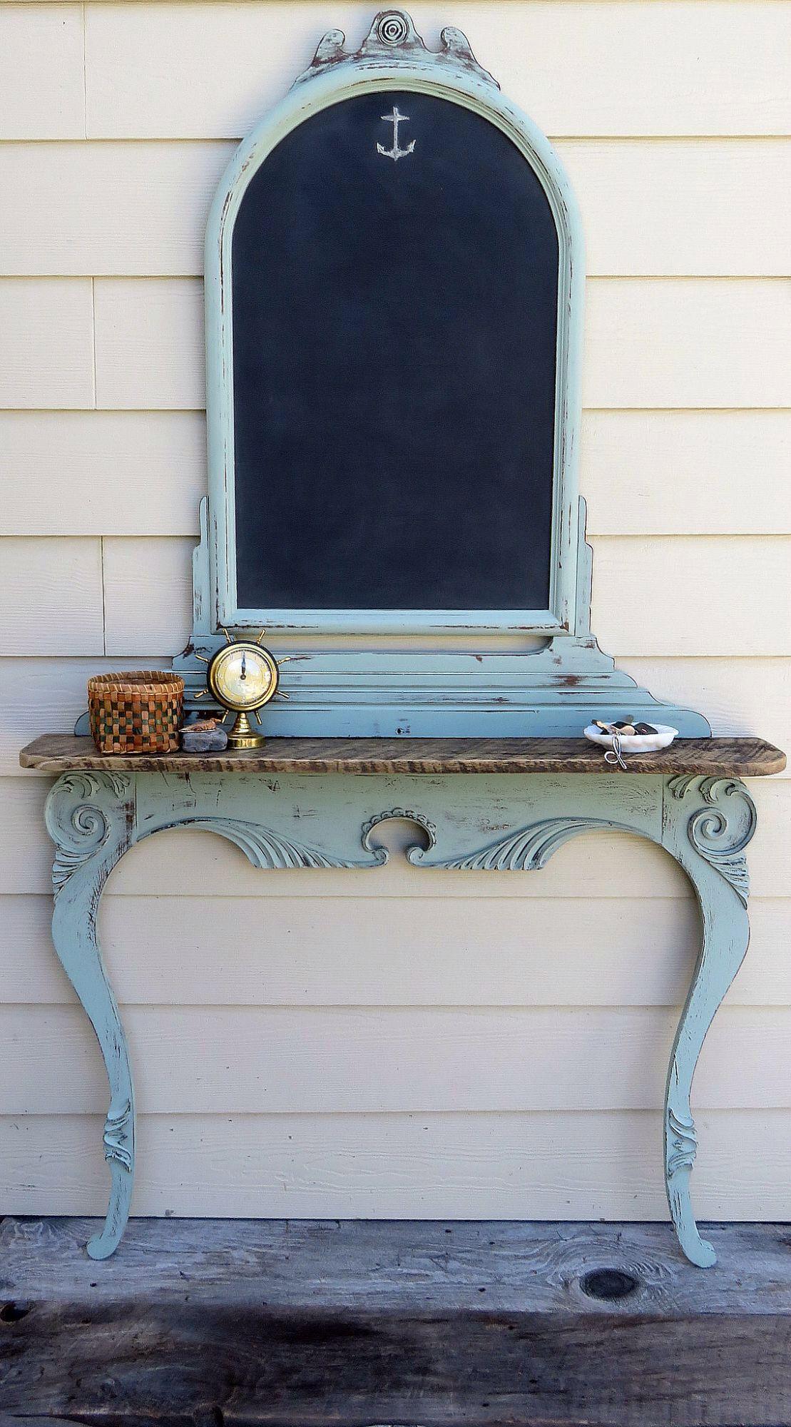 An Antique Dresser Harp Upside Down Added A Barn Wood Shelf