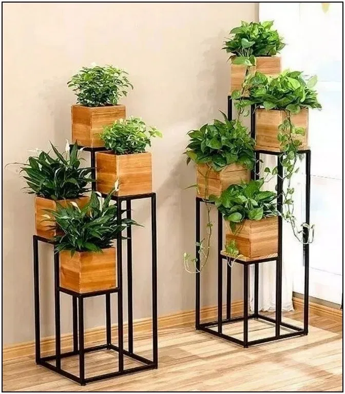 158 Diy Plant Stand Ideas To Fill Your Living Room With Greenery Page 5 Homydepot Com Plant Decor Indoor Plant Decor Easy House Plants