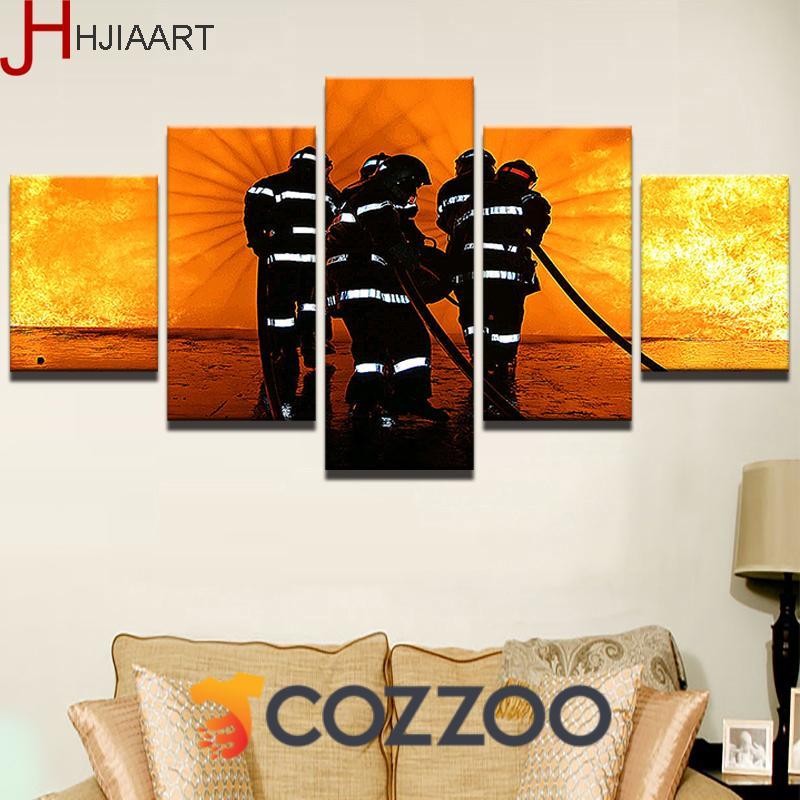 5 Pieces Firefighter Wall Art Fireman Canvas Https Www Cozzoo Com Products 5 Pieces Firefighter Wall Art Prints Canvas Print Wall Canvas Painting Landscape