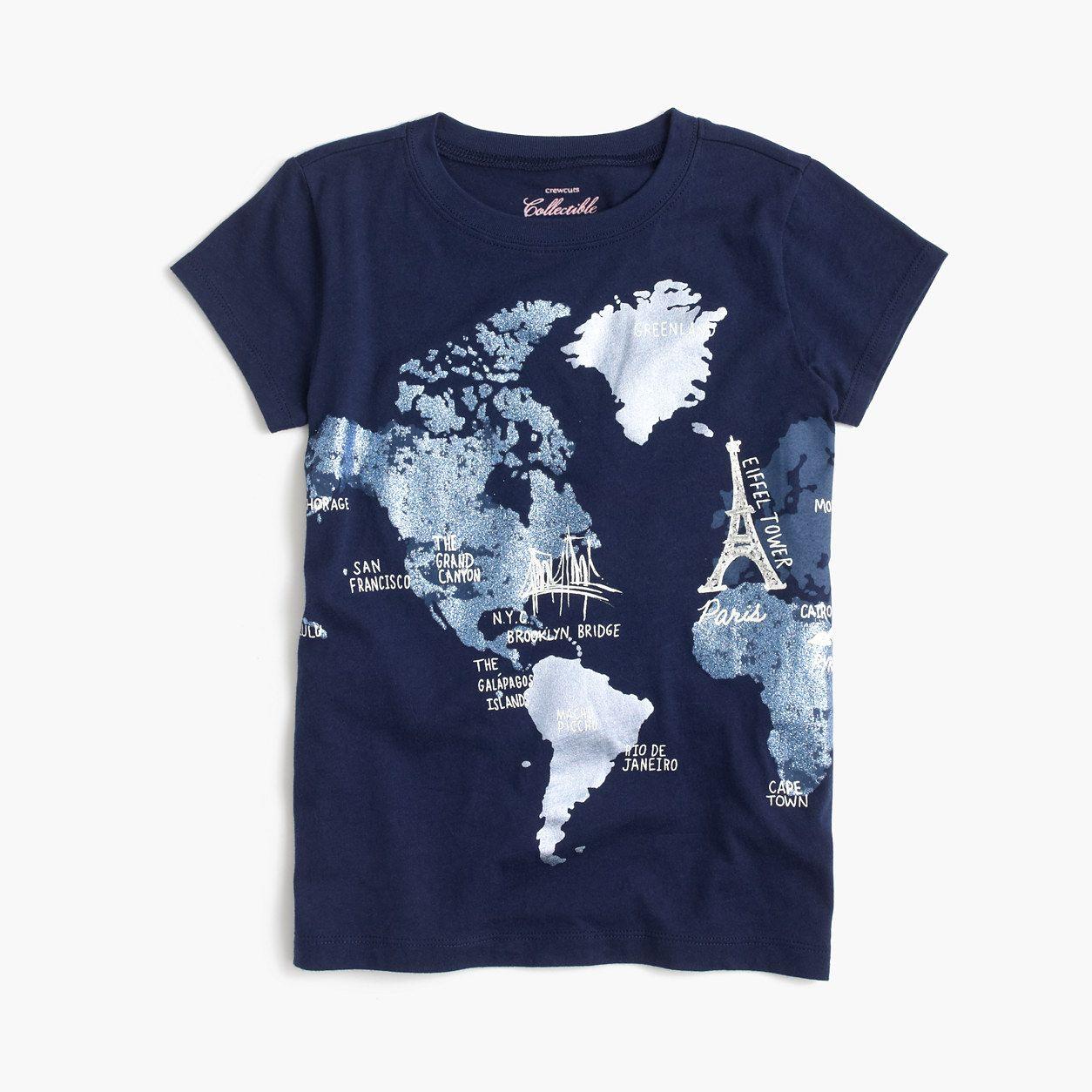 Crewcuts Girls Glitter World Map T Shirt Size 2 Kid Products