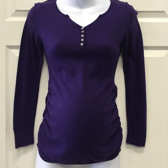 Motherhood maternity small purple sweater Motherhood small maternity sweater. Preloved Dark purple with ruched siding and cute button detail! Motherhood Maternity Sweaters V-Necks