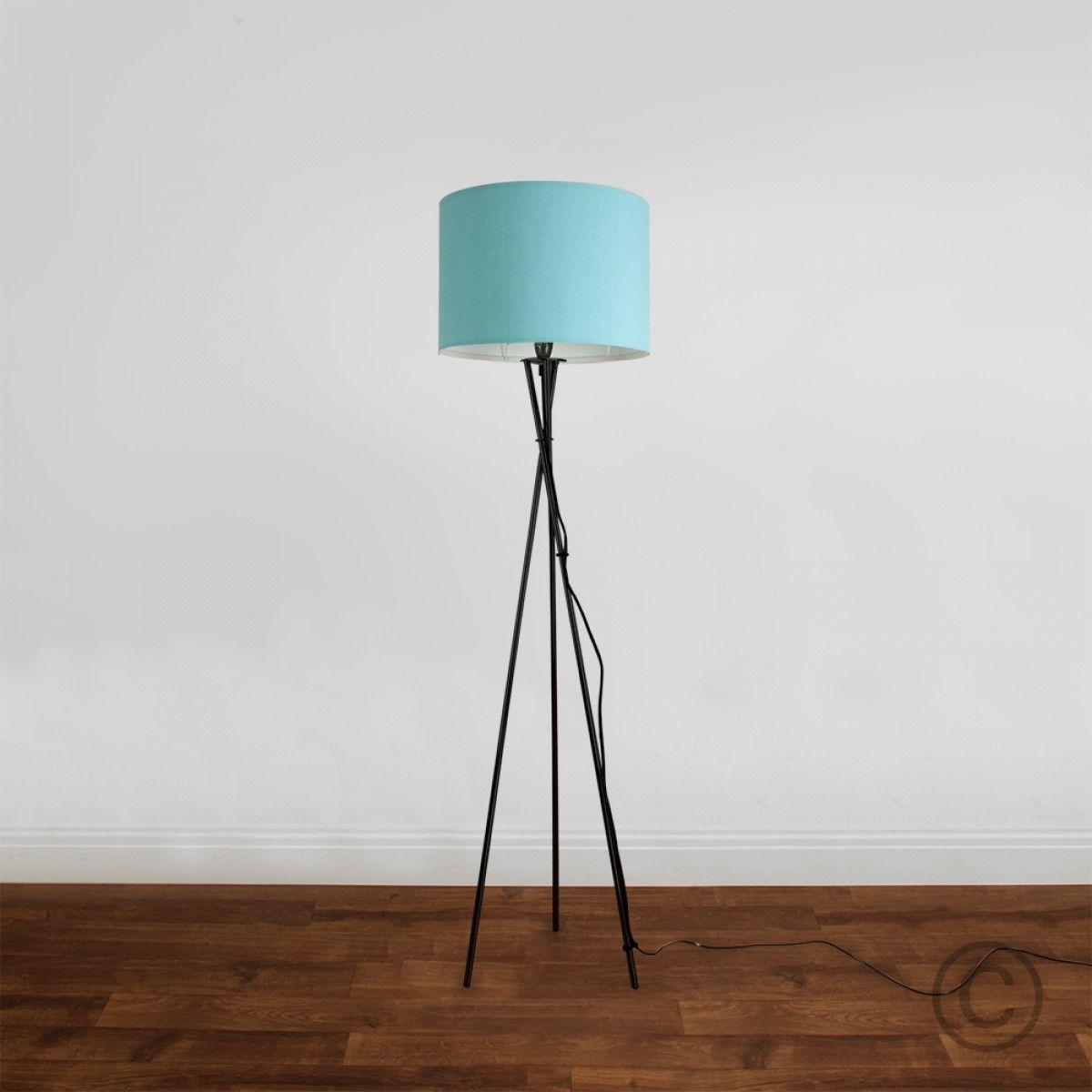 Camden Tripod Floor Lamp in Black, Duck Egg Blue Fabric