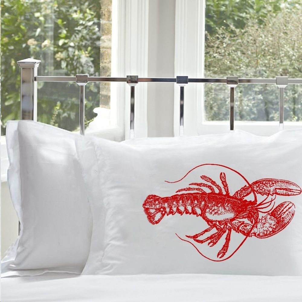 Uncategorized Unique Pillowcases details about two 2 nautical red lobster unique art pillowcases