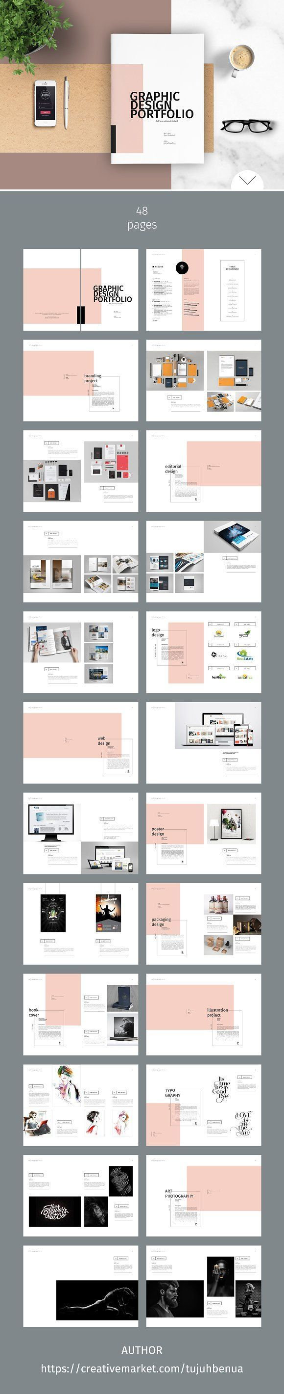 graphic design portfolio template by tujuhbenua on creativemarket - Bewerbung Grafikdesign
