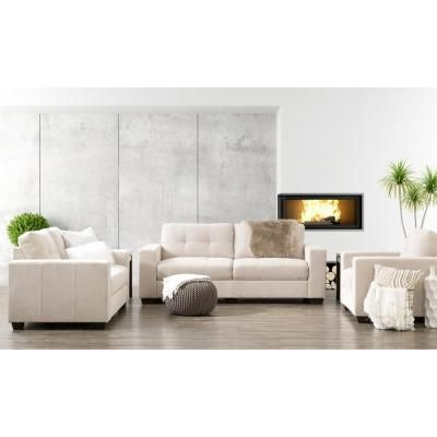 Best Corliving Club 3 Piece Tufted Beige Chenille Fabric Sofa 400 x 300