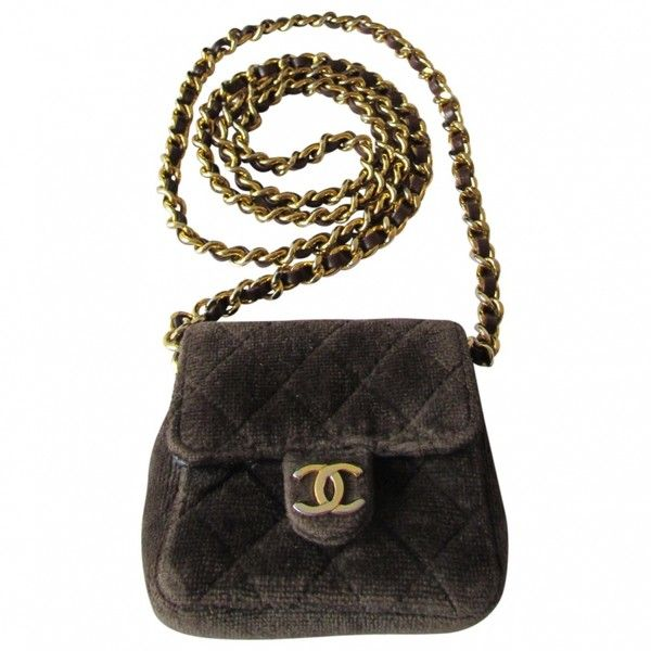 Brown Velvet Handbag Timeless CHANEL ($670) ❤ liked on Polyvore featuring bags, handbags, velvet handbag, brown bag, chanel purse, white hand bags and handbag purse