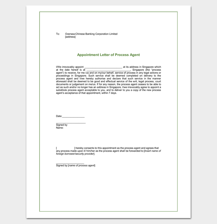 Agent Appointment Letter Samples Formats Examples Dotxes Sample