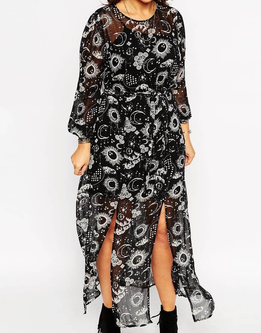 Curvy wedding guest dresses asos  ASOS Maxi Dress in Moon u Star Print  Messy Dressy  Pinterest