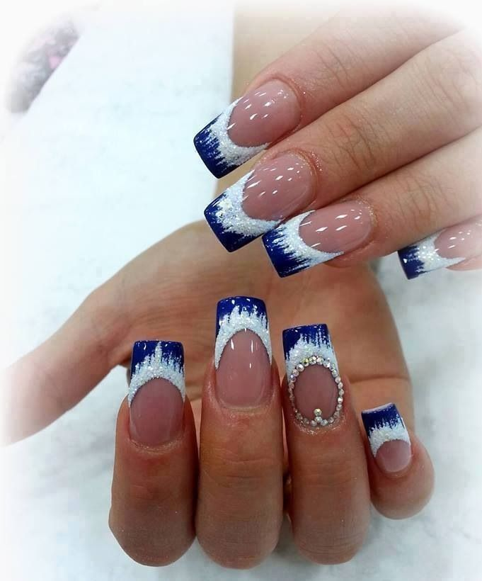 Christmas Nail Designs With White Tips: Navy Blue And White Nail Tips