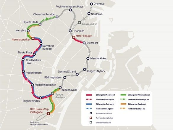 COPENHAGEN Metro TBM path developing map Metro trains